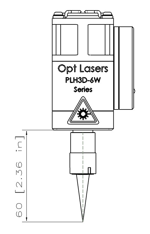 beam cone shape of the PLH3D-6W-μSpot cutting laser head