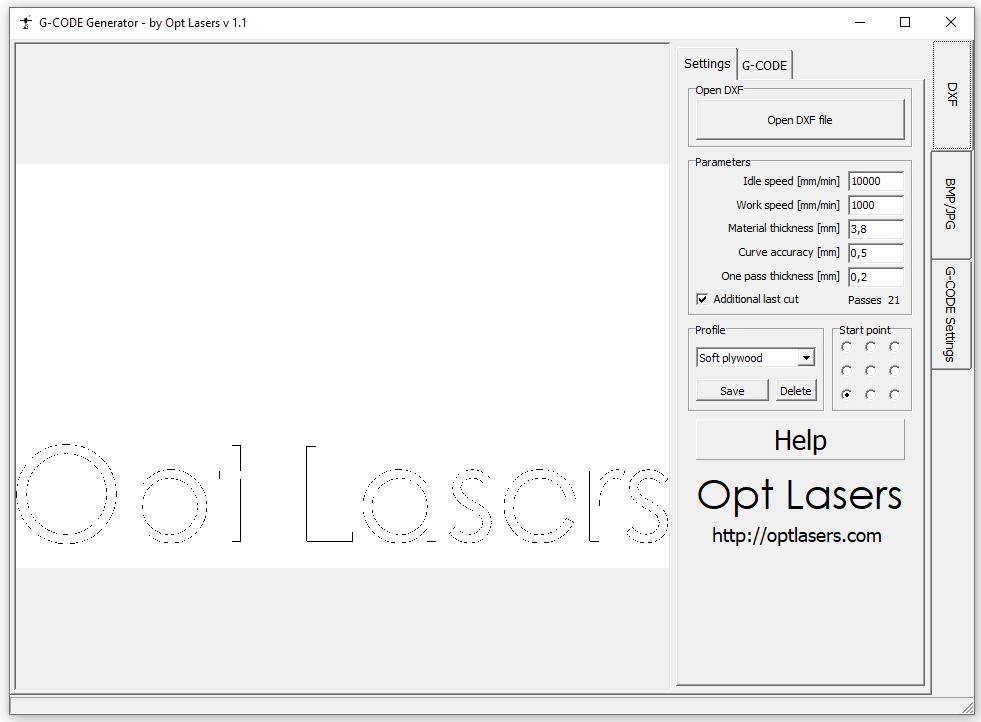 Opt Lasers G-Code generator